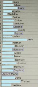 liste classe 10