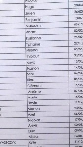 liste classe 12