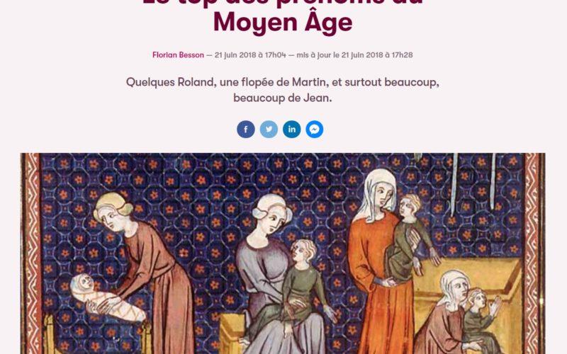 Le Top Des Prénoms Au Moyen âge